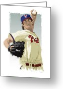 Citizens Bank Park  Greeting Cards - Cole Hamels Greeting Card by Scott Weigner