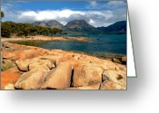 Minard Greeting Cards - Coles Bay Greeting Card by Vern Minard