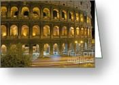 Nights Greeting Cards - Coliseum  illuminated at night. Rome Greeting Card by Bernard Jaubert