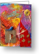 Kites Mixed Media Greeting Cards - Collage Abstract 2 Greeting Card by Yvonne Feavearyear