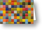 Quilt Blue Blocks Greeting Cards - Collage Color Study 108 Greeting Card by Michelle Calkins