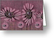 Pearls Greeting Cards - Collage flowers in pink Greeting Card by Pepita Selles