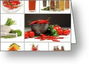 Chili Greeting Cards - Collage of different colorful spices for seasoning Greeting Card by Sandra Cunningham