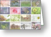 Texture Floral Greeting Cards - Collage of seasonal images with vintage look Greeting Card by Sandra Cunningham