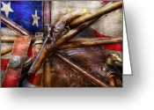 Veteran Photography Greeting Cards - Collector - Guns - How the war was won  Greeting Card by Mike Savad
