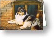 Sheltie Greeting Cards - Collie on the Hearth Greeting Card by Karen Coombes