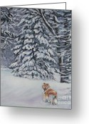 Christmas Trees Greeting Cards - Collie sable Christmas tree Greeting Card by L A Shepard