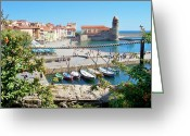 Ports Greeting Cards - Collioure from Knights of Templar Castle Greeting Card by Marilyn Dunlap