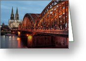 Christianity Photo Greeting Cards - Cologne Cathedral At Dusk Greeting Card by Vulture Labs
