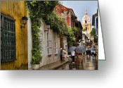Local Greeting Cards - Colonial buildings in old Cartagena Colombia Greeting Card by David Smith