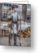 Muskets Greeting Cards - Colonial Soldier With Two Muskets Greeting Card by Robert Nelson
