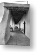 Adobe Architecture Greeting Cards - Colonnade At Mission Santa Ines Greeting Card by Steven Ainsworth
