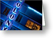 Neon Art Greeting Cards - Colony Hotel I Greeting Card by David Bowman