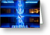Neon Art Greeting Cards - Colony Hotel II Greeting Card by David Bowman
