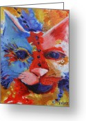 Deb Harvey Greeting Cards - Color Cat Greeting Card by Deb Harvey