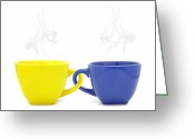 Background Ceramics Greeting Cards - Color cup with hot drink on white background Greeting Card by Natthawut Punyosaeng