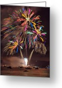 Fire Works Greeting Cards - Color Explosion Greeting Card by Michael  Ayers