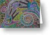 Stippling Greeting Cards - Color Fantasy Greeting Card by Vijay Sharon Govender