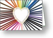 Color Pencils Greeting Cards - Color My Heart Greeting Card by Vava Fuller-quinn