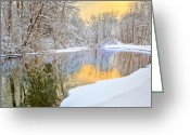 Connecticut Winter Scene Greeting Cards - Color of WInter Greeting Card by Bill  Wakeley