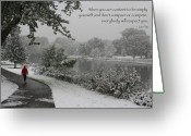 Lao Greeting Cards - Color Photo Snow Scene Lao Tzu Quote Greeting Card by Heidi Hermes