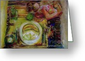 Setting Pastels Greeting Cards - Color Study Greeting Card by Jana Barros