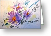 Aster  Painting Greeting Cards - Colorado Asters Greeting Card by Beverley Harper Tinsley