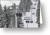 Athletes Greeting Cards - Colorado Chair Lift during Winter Greeting Card by Brendan Reals