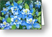 Blue Flowers Greeting Cards - Colorado Columbines Greeting Card by Barbara Jewell