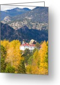 Fall Photographs Greeting Cards - Colorado Estes Park Stanly Hotel Autumn View Greeting Card by James Bo Insogna
