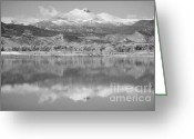 Mountains Photographs Greeting Cards - Colorado Longs Peak Circling Clouds Reflection BW Greeting Card by James Bo Insogna