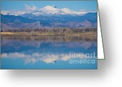 Mountains Photographs Greeting Cards - Colorado Longs Peak Circling Clouds Reflection Greeting Card by James Bo Insogna