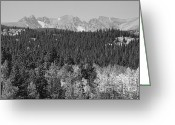 Colorado Mountain Greeting Cards Greeting Cards - Colorado Rocky Mountain Continental Divide Autumn View BW Greeting Card by James Bo Insogna