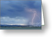 Lightning Bolt Pictures Greeting Cards - Colorado Rocky Mountains Foothills Lightning Strikes Greeting Card by James Bo Insogna