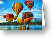 Van Gogh Sky Mixed Media Greeting Cards - Colorado Springs Hot Air Balloons Greeting Card by Nikki Marie Smith