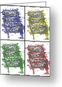 Stippling Greeting Cards - Colorblind Revisited Greeting Card by Teddy Campagna