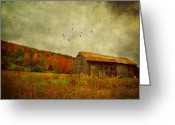 Fall Scene Greeting Cards - Colored Flight Greeting Card by Emily Stauring