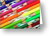 Pencil Greeting Cards - Colored Pencil Tips Greeting Card by Image by Catherine MacBride