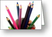 Crayons Greeting Cards - Colored Pencils And Crayons Greeting Card by Photo Researchers, Inc.