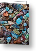 Stone Greeting Cards - Colored Polished Stones Greeting Card by Garry Gay