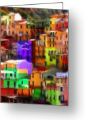 House Pastels Greeting Cards - Colored Windows Greeting Card by Stefan Kuhn