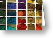 Chama River Greeting Cards - Colored Yarn at Tierra Wools Greeting Card by FeVa  Fotos
