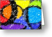 Crazy Greeting Cards - Colorful Abstract 3 Greeting Card by Chris Butler