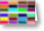 Grid Mixed Media Greeting Cards - Colorful Abstract Greeting Card by Kami McKeon