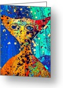 E-collage Greeting Cards - Colorful Alien Greeting Card by Carol Leigh