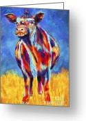 Cows Framed Prints Greeting Cards - Colorful Angus Cow Greeting Card by Michelle Wrighton