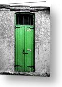 Travelpixpro Greeting Cards - Colorful Arched Doorway French Quarter New Orleans Color Splash Black and White with Ink Outlines Greeting Card by Shawn OBrien