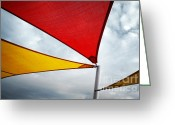 Shadow Shapes Greeting Cards - Colorful Awnings  Greeting Card by Carlos Caetano