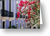 Red Building Greeting Cards - Colorful Balconies of Old San Juan Puerto Rico Greeting Card by George Oze
