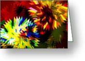 Saw Blade Greeting Cards - Colorful Blade Greeting Card by Atiketta Sangasaeng